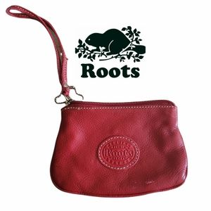 Roots leather mini wristlet